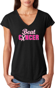 Ladies Breast Cancer T-shirt Beat Cancer Triblend V-Neck