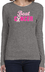 Ladies Breast Cancer T-shirt Beat Cancer Long Sleeve