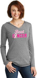 Ladies Breast Cancer T-shirt Beat Cancer Tri Blend Hoodie