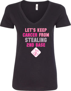 Ladies Breast Cancer T-shirt Second Base V-Neck