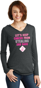 Ladies Breast Cancer T-shirt Second Base Tri Blend Hoodie