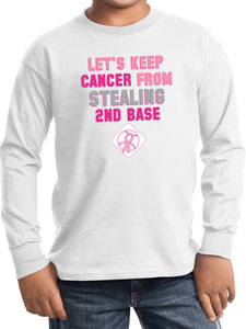 Kids Breast Cancer T-shirt Second Base Youth Long Sleeve