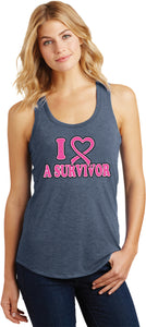 Buy Cool Shirts Ladies Breast Cancer Tank Top I Heart a Survivor Racerback