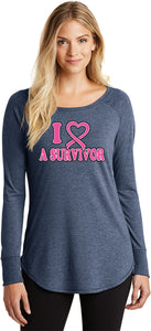 Ladies Breast Cancer Tee I Heart a Survivor TriBlend Long Sleeve