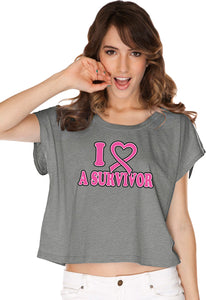 Ladies Breast Cancer T-shirt I Heart a Survivor Boxy Tee