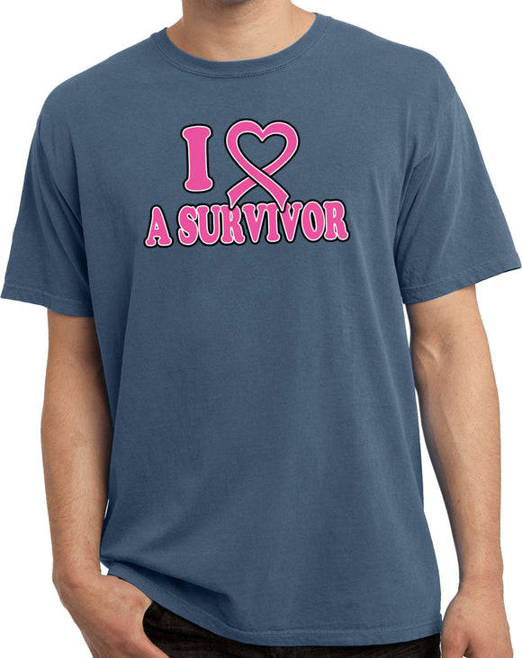 Breast Cancer T-shirt I Heart a Survivor Pigment Dyed Tee