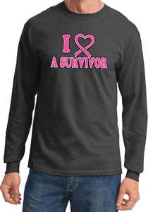 Breast Cancer T-shirt I Heart a Survivor Long Sleeve