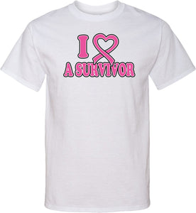 Breast Cancer T-shirt I Heart a Survivor Tall Tee