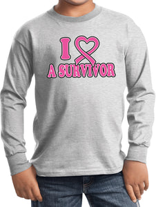Kids Breast Cancer T-shirt I Heart a Survivor Youth Long Sleeve