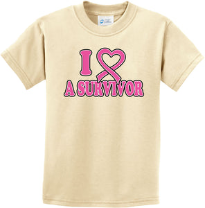 Kids Breast Cancer T-shirt I Heart a Survivor Youth Tee