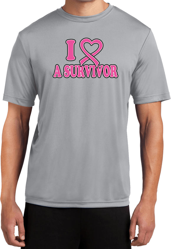 Breast Cancer T-shirt I Heart a Survivor Moisture Wicking Tee