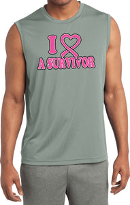 Buy Cool Shirts Breast Cancer Shirt I Heart a Survivor Sleeveless Competitor Tee