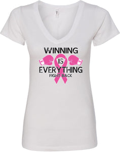 Ladies Breast Cancer T-shirt Winning is Everything V-Neck