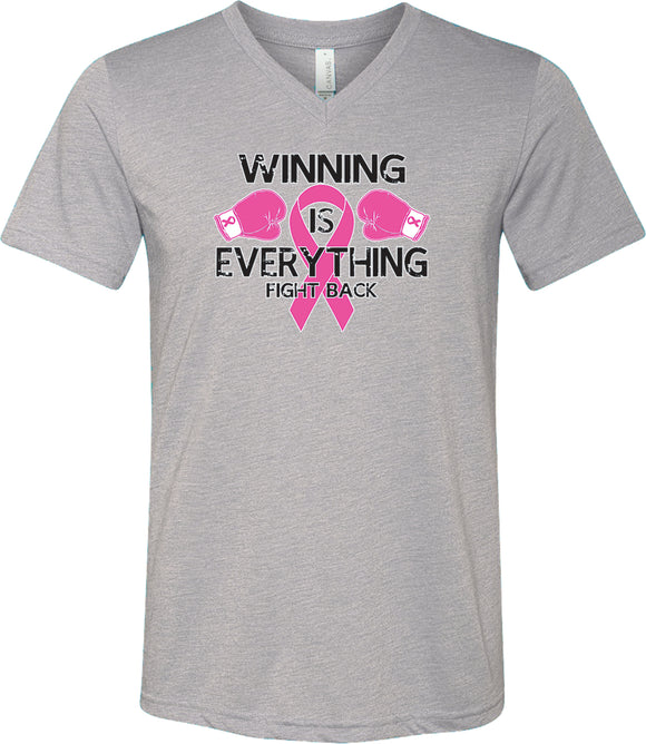 Breast Cancer T-shirt Winning is Everything Tri Blend V-Neck
