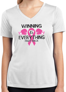 Ladies Breast Cancer Winning is Everything Dry Wicking V-Neck