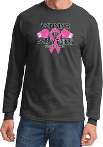 Breast Cancer T-shirt Winning is Everything Long Sleeve