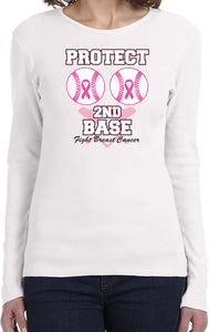 Ladies Breast Cancer T-shirt Protect Second Base Long Sleeve
