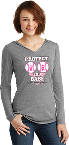 Ladies Breast Cancer Shirt Protect Second Base Tri Blend Hoodie