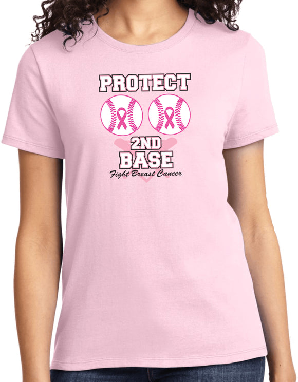 Ladies Breast Cancer T-shirt Protect Second Base Tee