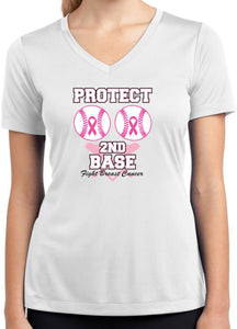 Ladies Breast Cancer Shirt Protect Second Base Dry Wicking VNeck