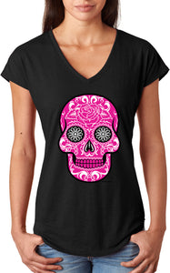 Ladies Halloween T-shirt Pink Sugar Skull Triblend V-Neck