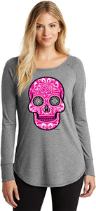 Ladies Halloween T-shirt Pink Sugar Skull Tri Blend Long Sleeve