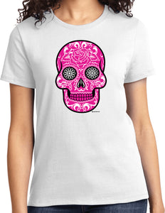 Ladies Halloween T-shirt Pink Sugar Skull Tee