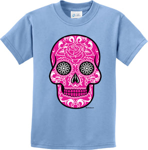 Kids Halloween T-shirt Pink Sugar Skull Youth Tee