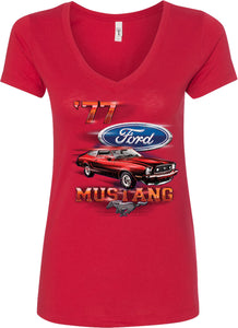 Ladies Ford T-shirt 1977 Mustang V-Neck
