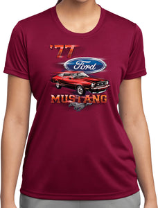 Ladies Ford T-shirt 1977 Mustang Moisture Wicking Tee