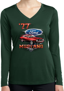 Ladies Ford T-shirt 1977 Mustang Dry Wicking Long Sleeve
