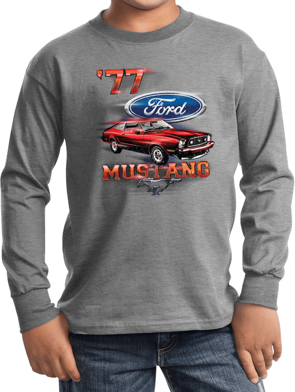 Buy Cool Shirts Kids Ford T-shirt 1977 Mustang Youth Long Sleeve