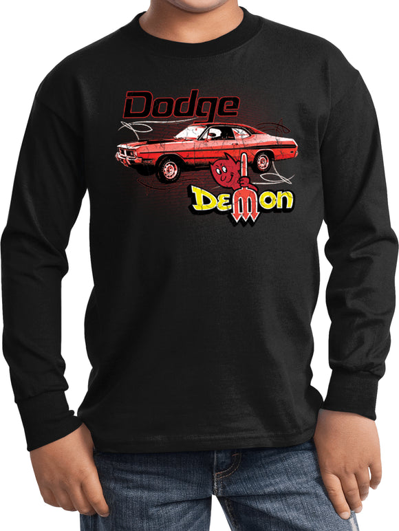 Buy Cool Shirts Kids Dodge T-shirt Distressed Demon Youth Long Sleeve