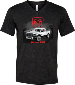 Dodge T-shirt White Ram Tri Blend V-Neck
