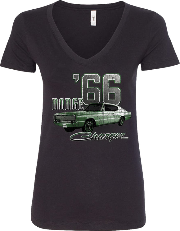Ladies Dodge T-shirt Green 1966 Charger V-Neck