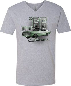 Dodge T-shirt Green 1966 Charger V-Neck