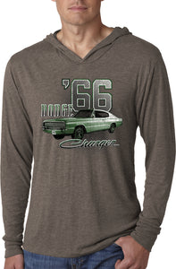 Dodge T-shirt Green 1966 Charger Lightweight Hoodie