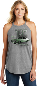 Ladies Dodge Tank Top Green 1966 Charger Tri Rocker Tanktop