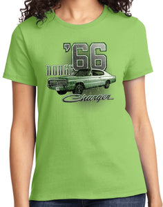 Ladies Dodge T-shirt Green 1966 Charger Tee