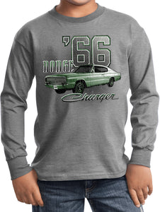 Kids Dodge T-shirt Green 1966 Charger Youth Long Sleeve