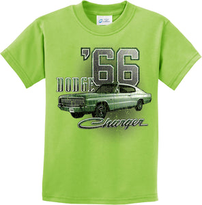 Kids Dodge T-shirt Green 1966 Charger Youth Tee