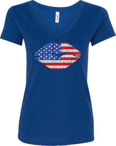 Ladies USA T-shirt Patriotic Lips V-Neck