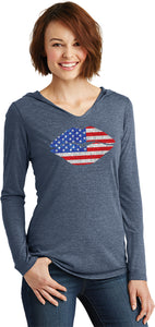 Ladies USA T-shirt Patriotic Lips Tri Blend Hoodie