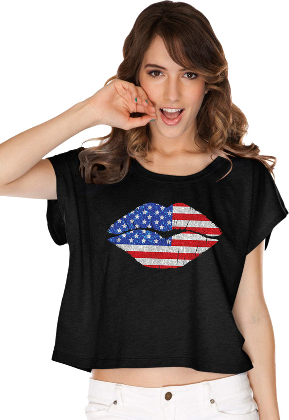 Ladies USA T-shirt Patriotic Lips Boxy Tee
