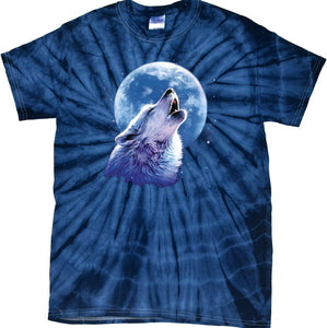 Wolf and Moon T-shirt Call of the Wild Spider Tie Dye Tee