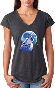 Ladies Wolf and Moon T-shirt Call of the Wild Triblend V-Neck