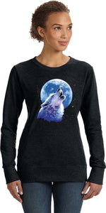 Ladies Wolf and Moon Sweatshirt Call of the Wild