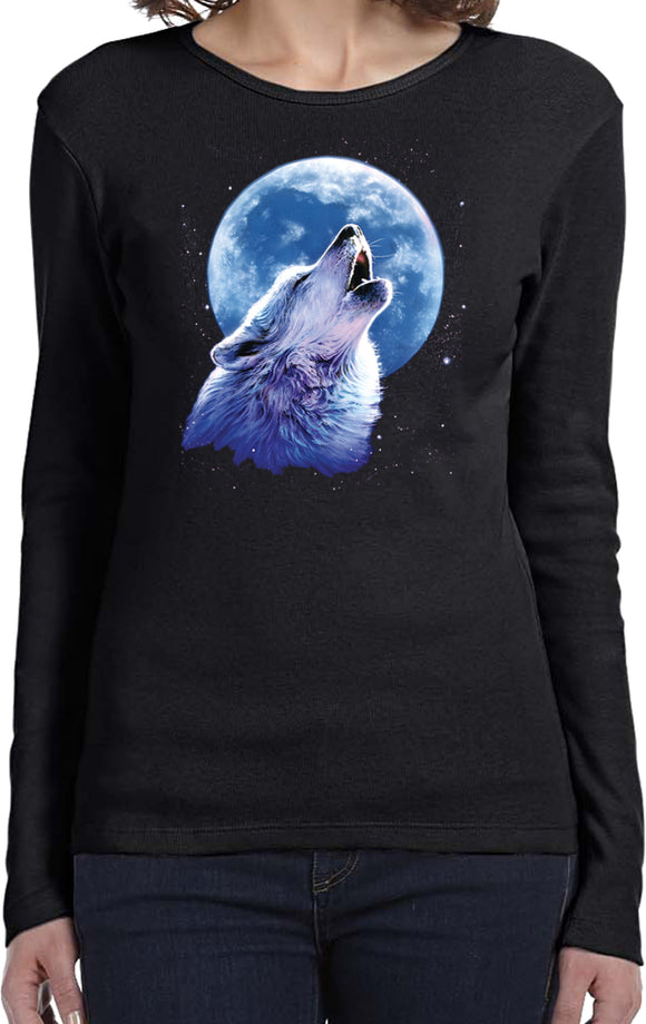 Ladies Wolf and Moon T-shirt Call of the Wild Long Sleeve