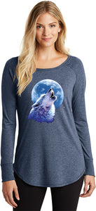 Ladies Wolf and Moon Tee Call of the Wild Tri Blend Long Sleeve