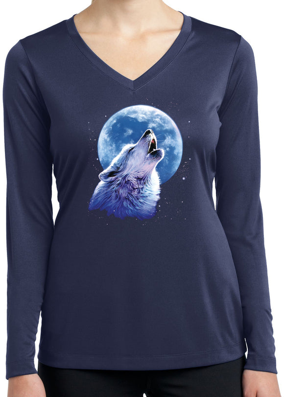 Buy Cool Shirts Ladies Wolf Moon Tee Call of the Wild Dry Wicking Long Sleeve
